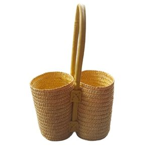 Straw Woven Bottle Basket with Pleather Handle